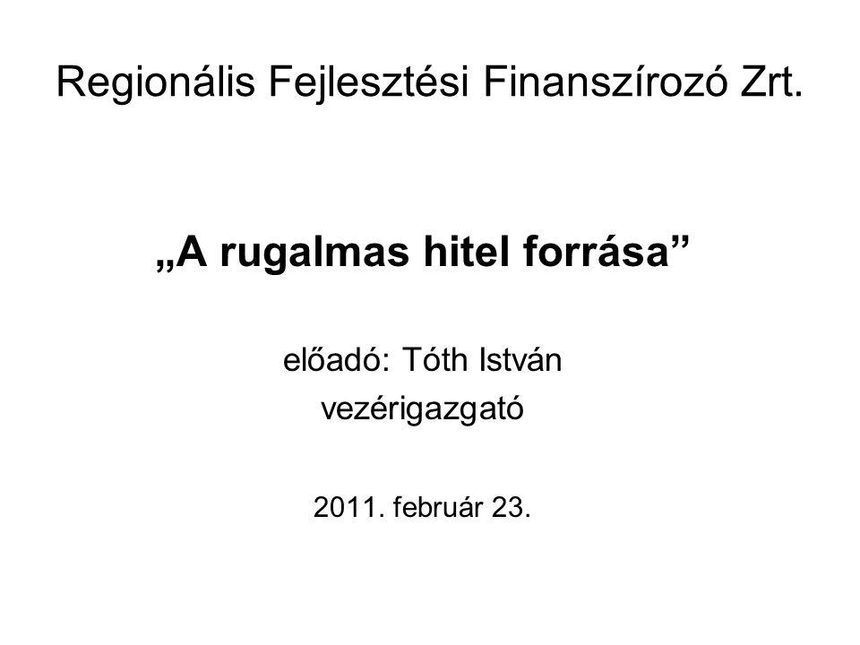 """Regionális Fejlesztési Finanszírozó Zrt. """"A rugalmas hitel forrása"""" előadó: Tóth István vezérigazgató 2011. február 23."""