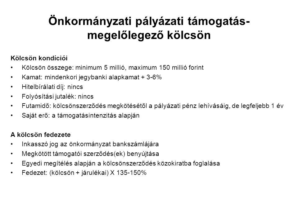 Önkormányzati pályázati támogatás- megelőlegező kölcsön Kölcsön kondíciói Kölcsön összege: minimum 5 millió, maximum 150 millió forint Kamat: mindenko