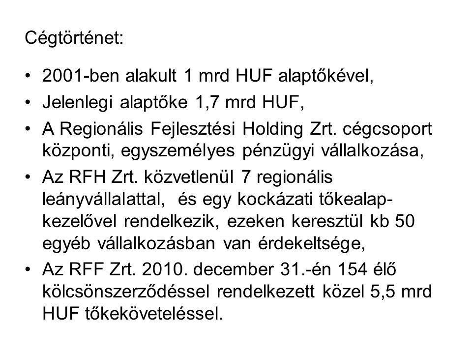 Cégtörténet: 2001-ben alakult 1 mrd HUF alaptőkével, Jelenlegi alaptőke 1,7 mrd HUF, A Regionális Fejlesztési Holding Zrt. cégcsoport központi, egysze
