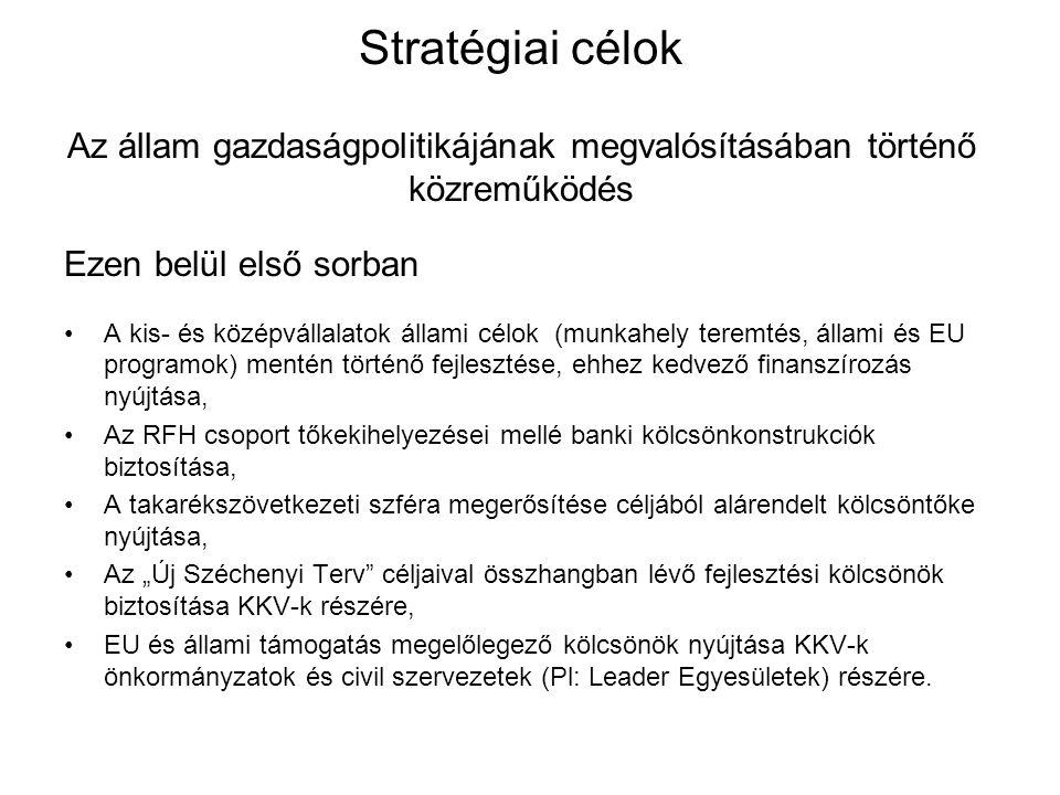 Stratégiai célok Az állam gazdaságpolitikájának megvalósításában történő közreműködés Ezen belül első sorban A kis- és középvállalatok állami célok (m