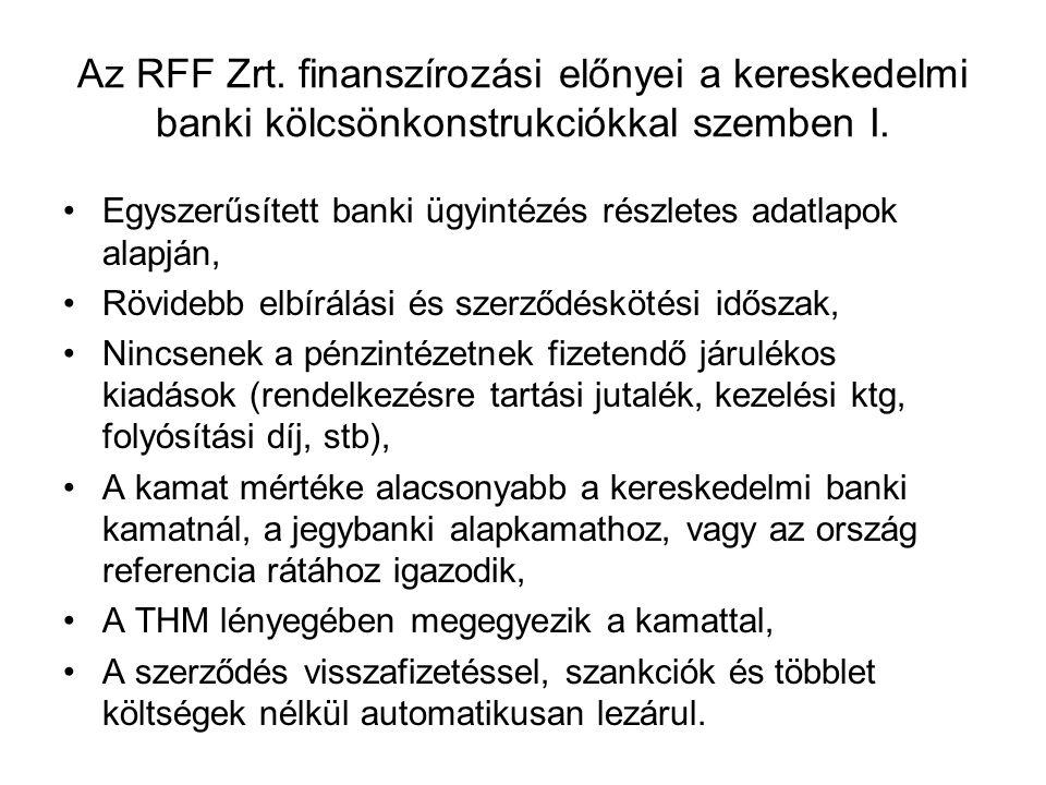 Az RFF Zrt. finanszírozási előnyei a kereskedelmi banki kölcsönkonstrukciókkal szemben I. Egyszerűsített banki ügyintézés részletes adatlapok alapján,
