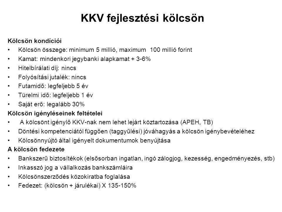 KKV fejlesztési kölcsön Kölcsön kondíciói Kölcsön összege: minimum 5 millió, maximum 100 millió forint Kamat: mindenkori jegybanki alapkamat + 3-6% Hi