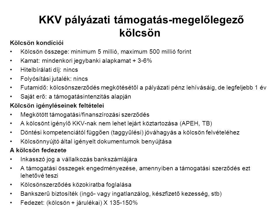 KKV pályázati támogatás-megelőlegező kölcsön Kölcsön kondíciói Kölcsön összege: minimum 5 millió, maximum 500 millió forint Kamat: mindenkori jegybank