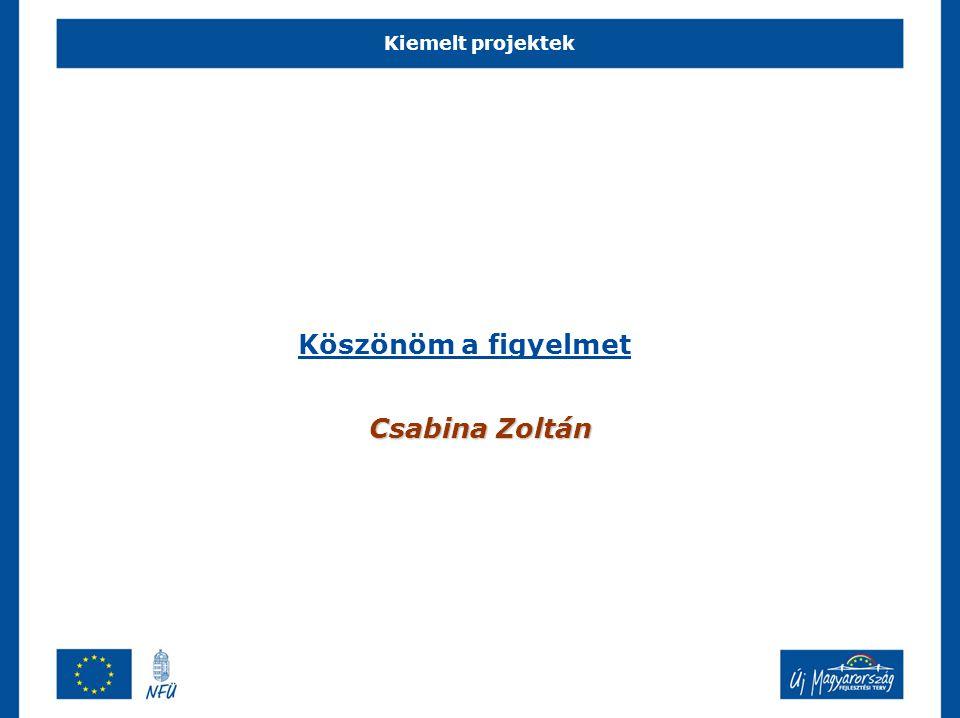 Kiemelt projektek Köszönöm a figyelmet Csabina Zoltán