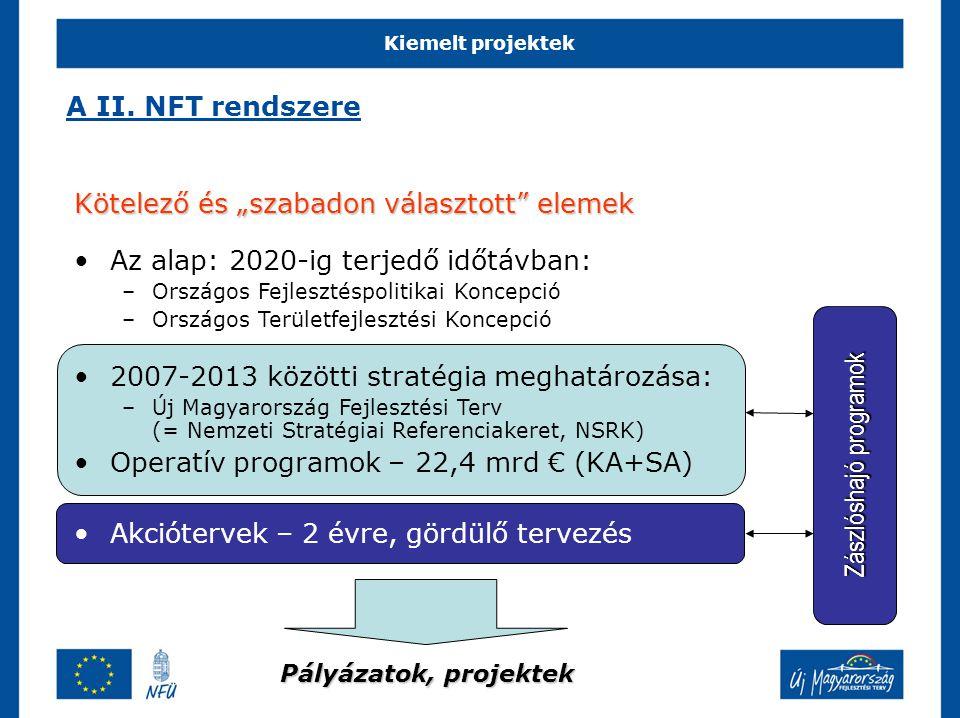 """Kiemelt projektek Kötelező és """"szabadon választott elemek Az alap: 2020-ig terjedő időtávban: –Országos Fejlesztéspolitikai Koncepció –Országos Területfejlesztési Koncepció 2007-2013 közötti stratégia meghatározása: –Új Magyarország Fejlesztési Terv (= Nemzeti Stratégiai Referenciakeret, NSRK) Operatív programok – 22,4 mrd € (KA+SA) Akciótervek – 2 évre, gördülő tervezés Zászlóshajó programok Pályázatok, projektek A II."""