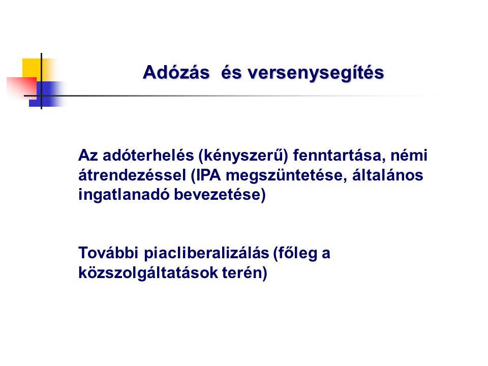 Adózás és versenysegítés Az adóterhelés (kényszerű) fenntartása, némi átrendezéssel (IPA megszüntetése, általános ingatlanadó bevezetése) További piac