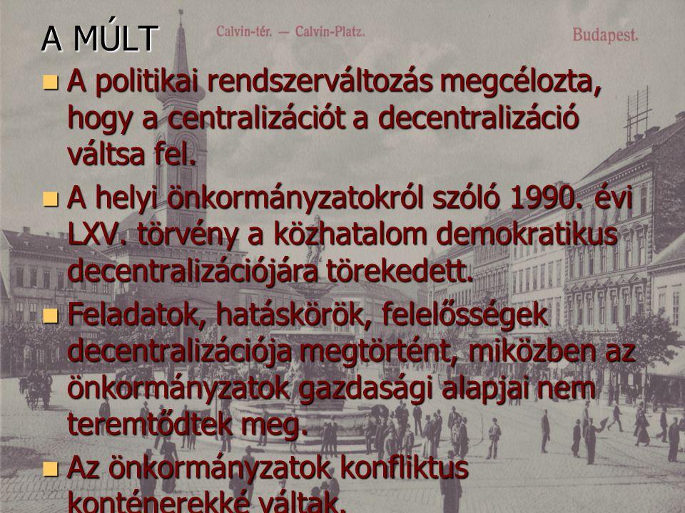 A MÚLT A politikai rendszerváltozás megcélozta, hogy a centralizációt a decentralizáció váltsa fel. A politikai rendszerváltozás megcélozta, hogy a ce