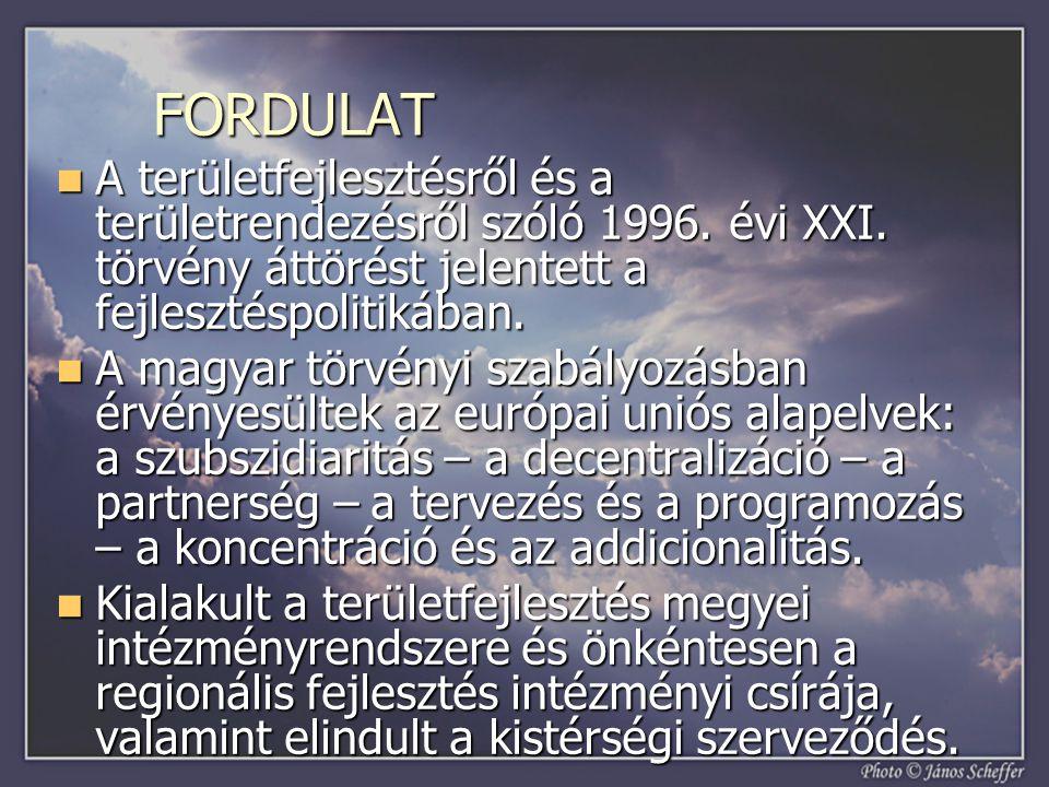 FORDULAT A területfejlesztésről és a területrendezésről szóló 1996. évi XXI. törvény áttörést jelentett a fejlesztéspolitikában. A területfejlesztésrő