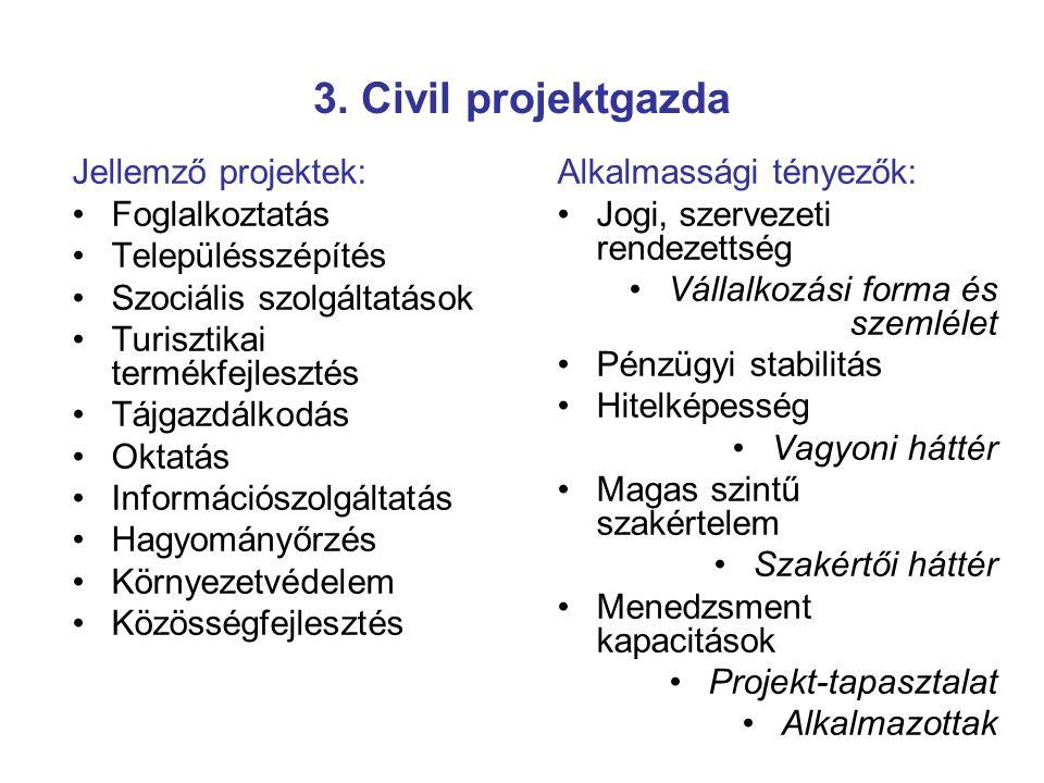 3. Civil projektgazda Alkalmassági tényezők: Jogi, szervezeti rendezettség Vállalkozási forma és szemlélet Pénzügyi stabilitás Hitelképesség Vagyoni h
