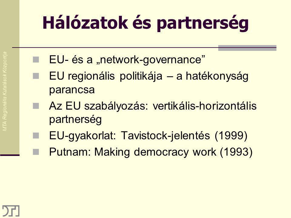 """MTA Regionális Kutatások Központja Hálózatok és partnerség EU- és a """"network-governance EU regionális politikája – a hatékonyság parancsa Az EU szabályozás: vertikális-horizontális partnerség EU-gyakorlat: Tavistock-jelentés (1999) Putnam: Making democracy work (1993)"""