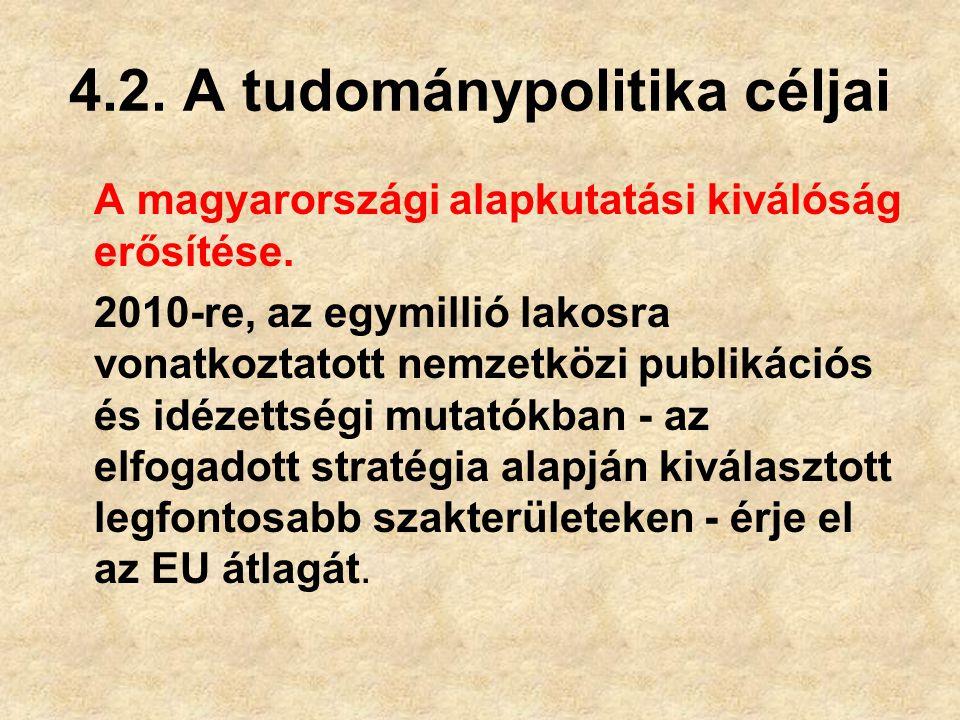 4.2.A tudománypolitika céljai A magyarországi alapkutatási kiválóság erősítése.