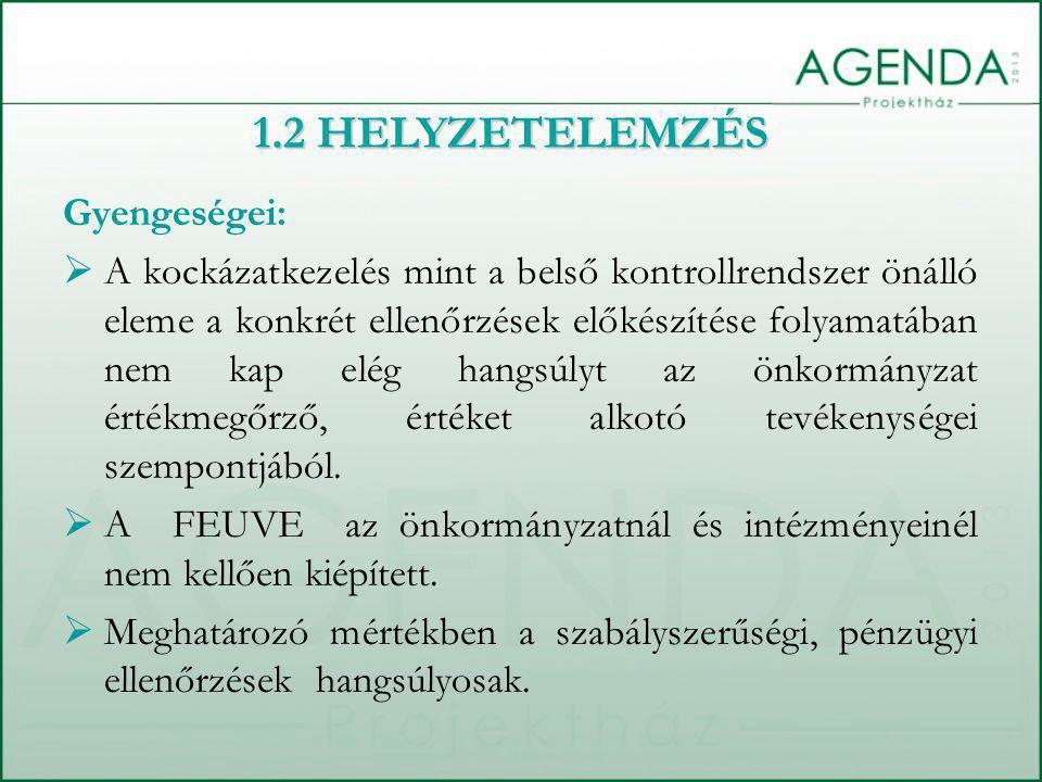 Gyengeségei:  A belső ellenőrzési terv helyesen tartalmazza a kötelező feladatokat, fókuszba állítja a szabályozottság, szabályosság biztosítását, pl.