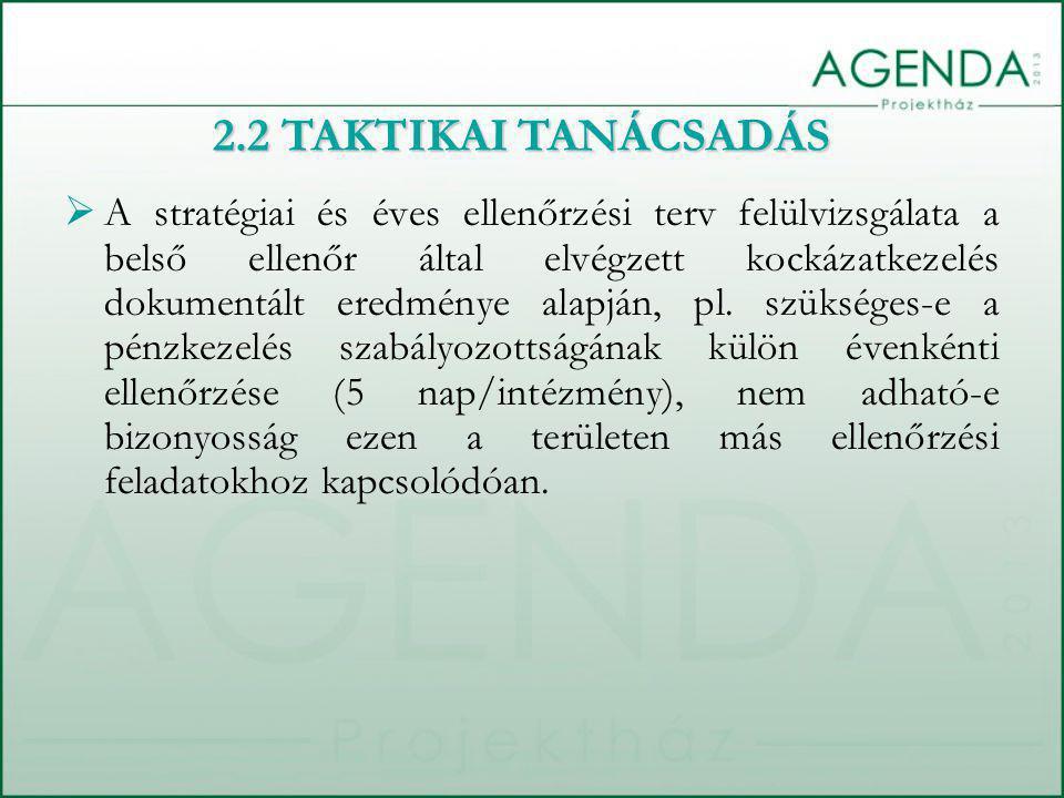  A stratégiai és éves ellenőrzési terv felülvizsgálata a belső ellenőr által elvégzett kockázatkezelés dokumentált eredménye alapján, pl.