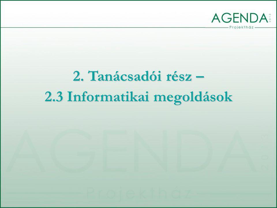 2. Tanácsadói rész – 2.3 Informatikai megoldások