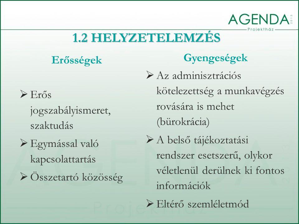 Erősségek  Erős jogszabályismeret, szaktudás  Egymással való kapcsolattartás  Összetartó közösség Gyengeségek  Az adminisztrációs kötelezettség a munkavégzés rovására is mehet (bürokrácia)  A belső tájékoztatási rendszer esetszerű, olykor véletlenül derülnek ki fontos információk  Eltérő szemléletmód 1.2 HELYZETELEMZÉS