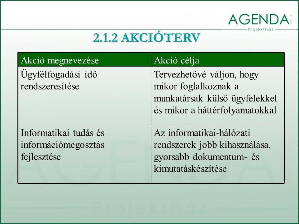 Az informatikai-hálózati rendszerek jobb kihasználása, gyorsabb dokumentum- és kimutatáskészítése Informatikai tudás és információmegosztás fejlesztése Tervezhetővé váljon, hogy mikor foglalkoznak a munkatársak külső ügyfelekkel és mikor a háttérfolyamatokkal Ügyfélfogadási idő rendszeresítése Akció céljaAkció megnevezése 2.1.2 AKCIÓTERV