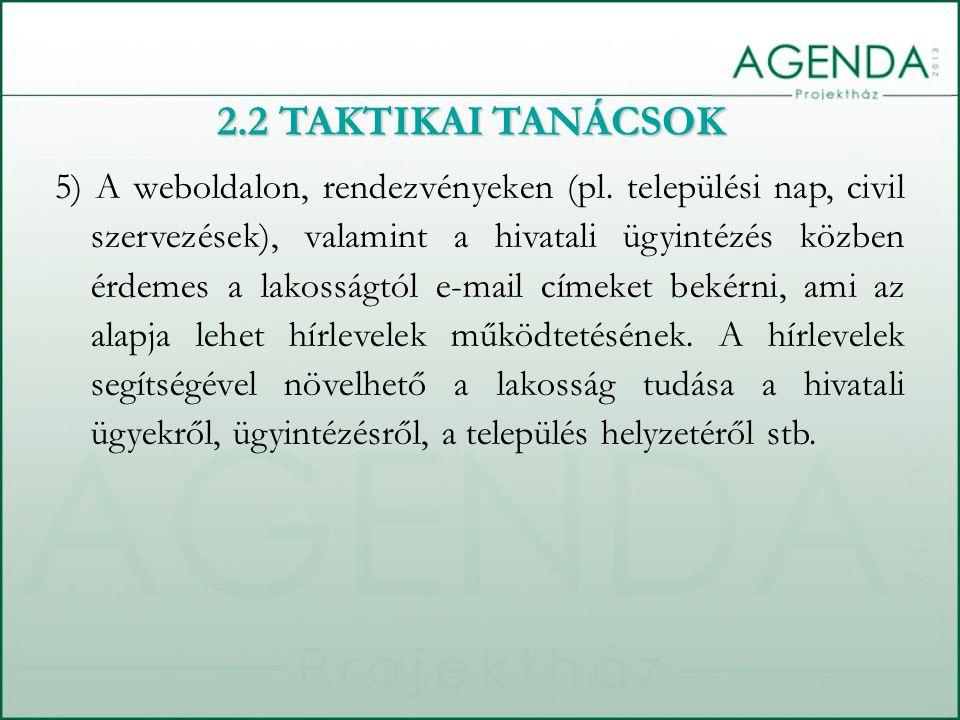 5) A weboldalon, rendezvényeken (pl.