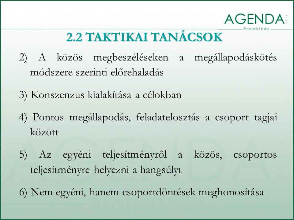 2) A közös megbeszéléseken a megállapodáskötés módszere szerinti előrehaladás 3) Konszenzus kialakítása a célokban 4) Pontos megállapodás, feladatelosztás a csoport tagjai között 5) Az egyéni teljesítményről a közös, csoportos teljesítményre helyezni a hangsúlyt 6) Nem egyéni, hanem csoportdöntések meghonosítása 2.2 TAKTIKAI TANÁCSOK