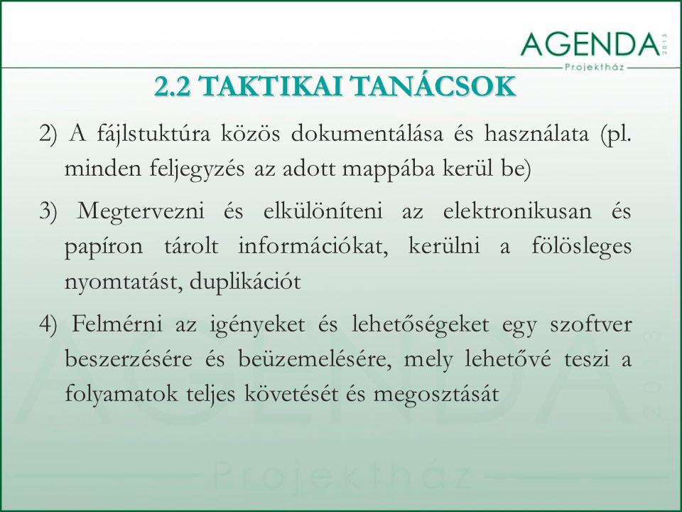 2) A fájlstuktúra közös dokumentálása és használata (pl.