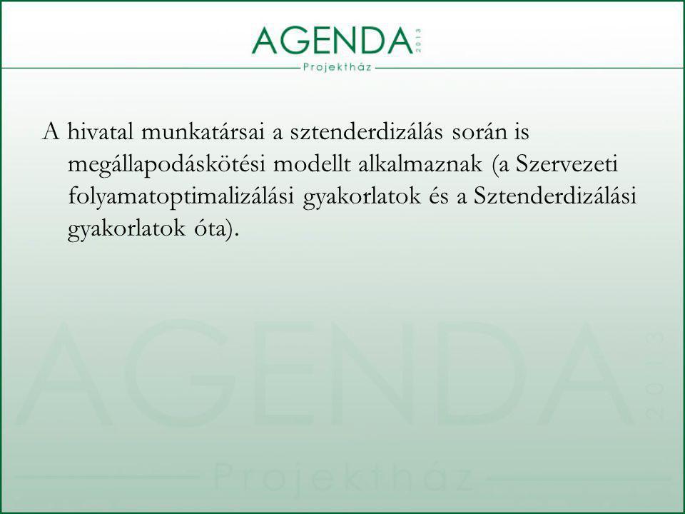 A hivatal munkatársai a sztenderdizálás során is megállapodáskötési modellt alkalmaznak (a Szervezeti folyamatoptimalizálási gyakorlatok és a Sztenderdizálási gyakorlatok óta).