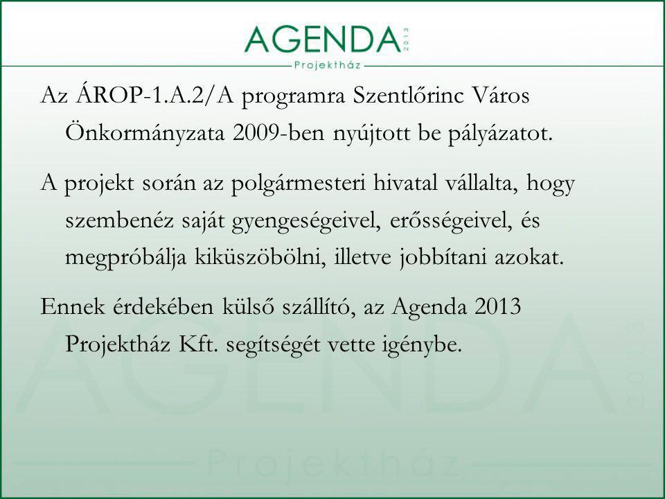 Az ÁROP-1.A.2/A programra Szentlőrinc Város Önkormányzata 2009-ben nyújtott be pályázatot.
