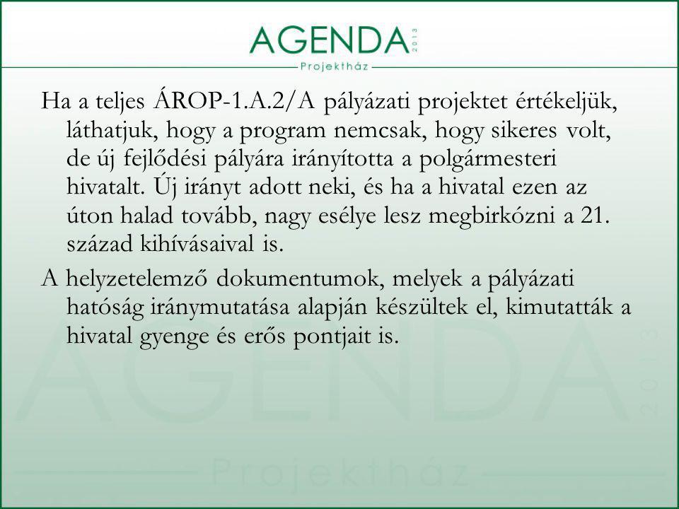 Ha a teljes ÁROP-1.A.2/A pályázati projektet értékeljük, láthatjuk, hogy a program nemcsak, hogy sikeres volt, de új fejlődési pályára irányította a polgármesteri hivatalt.