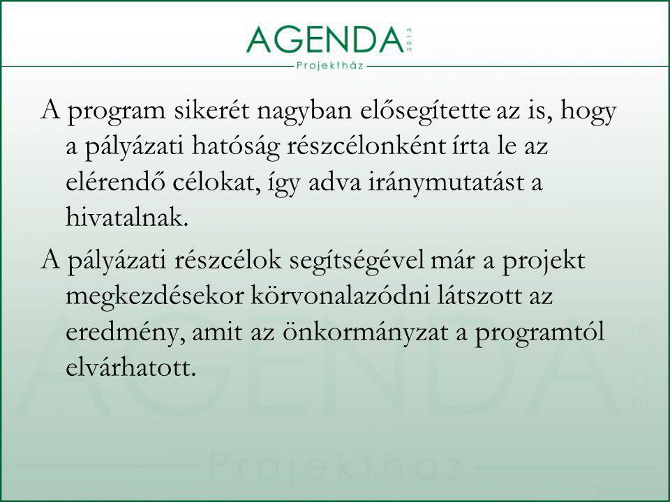 A program sikerét nagyban elősegítette az is, hogy a pályázati hatóság részcélonként írta le az elérendő célokat, így adva iránymutatást a hivatalnak.