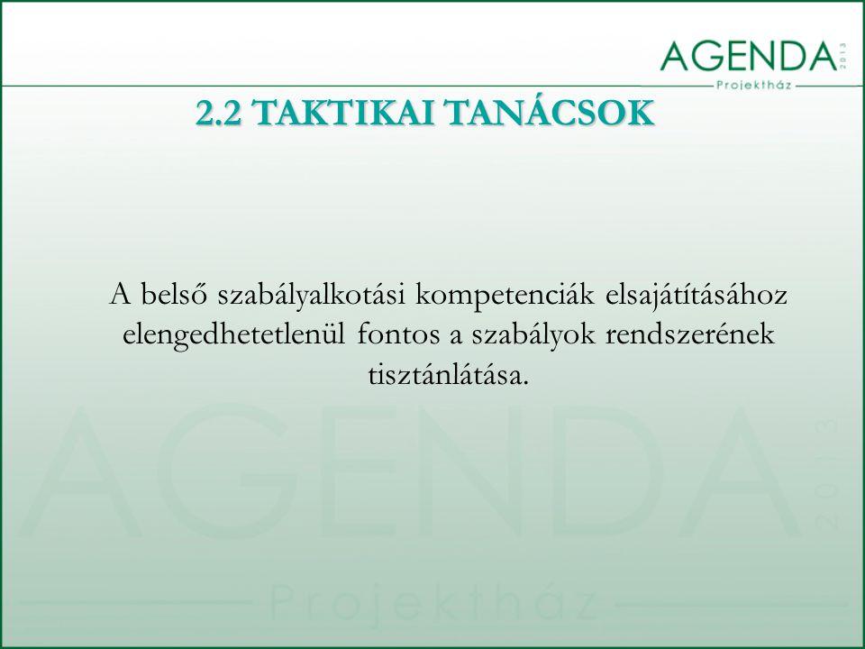 A belső szabályalkotási kompetenciák elsajátításához elengedhetetlenül fontos a szabályok rendszerének tisztánlátása. 2.2 TAKTIKAI TANÁCSOK
