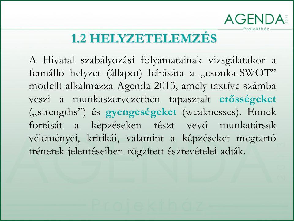 """A Hivatal szabályozási folyamatainak vizsgálatakor a fennálló helyzet (állapot) leírására a """"csonka-SWOT modellt alkalmazza Agenda 2013, amely taxtíve számba veszi a munkaszervezetben tapasztalt erősségeket (""""strengths ) és gyengeségeket (weaknesses)."""