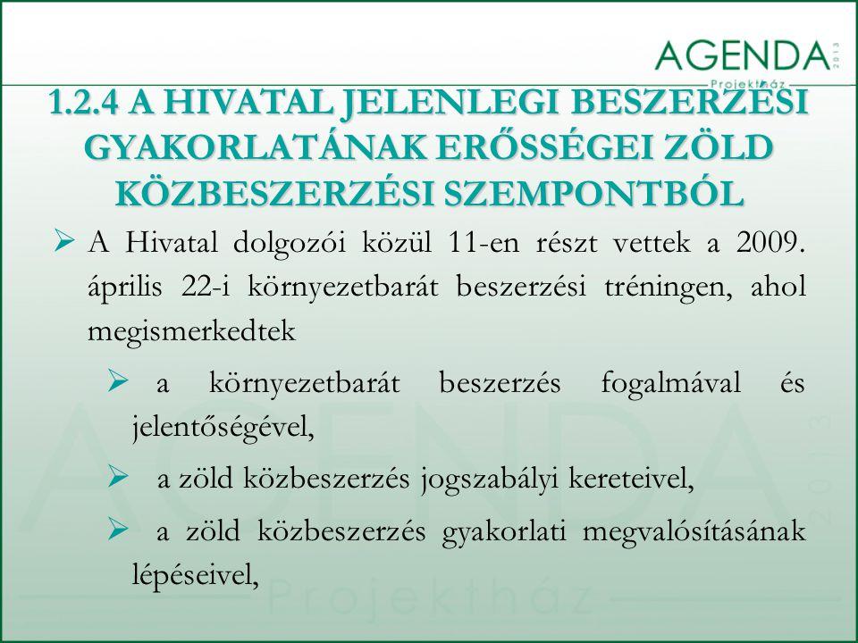 A Hivatal dolgozói közül 11-en részt vettek a 2009. április 22-i környezetbarát beszerzési tréningen, ahol megismerkedtek  a környezetbarát beszerz