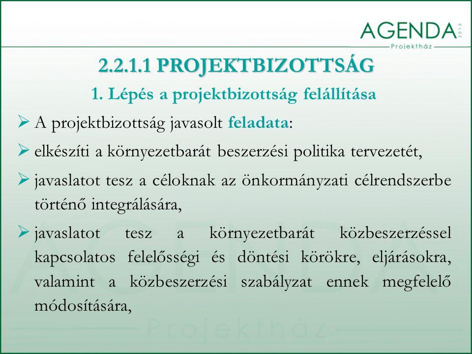1. Lépés a projektbizottság felállítása  A projektbizottság javasolt feladata:  elkészíti a környezetbarát beszerzési politika tervezetét,  javasla