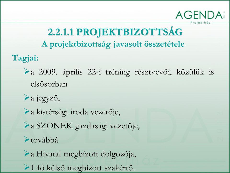A projektbizottság javasolt összetétele Tagjai:  a 2009. április 22-i tréning résztvevői, közülük is elsősorban  a jegyző,  a kistérségi iroda veze