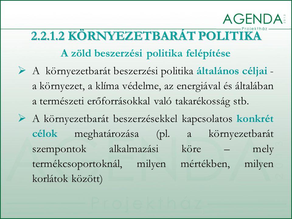 A zöld beszerzési politika felépítése  A környezetbarát beszerzési politika általános céljai - a környezet, a klíma védelme, az energiával és általáb