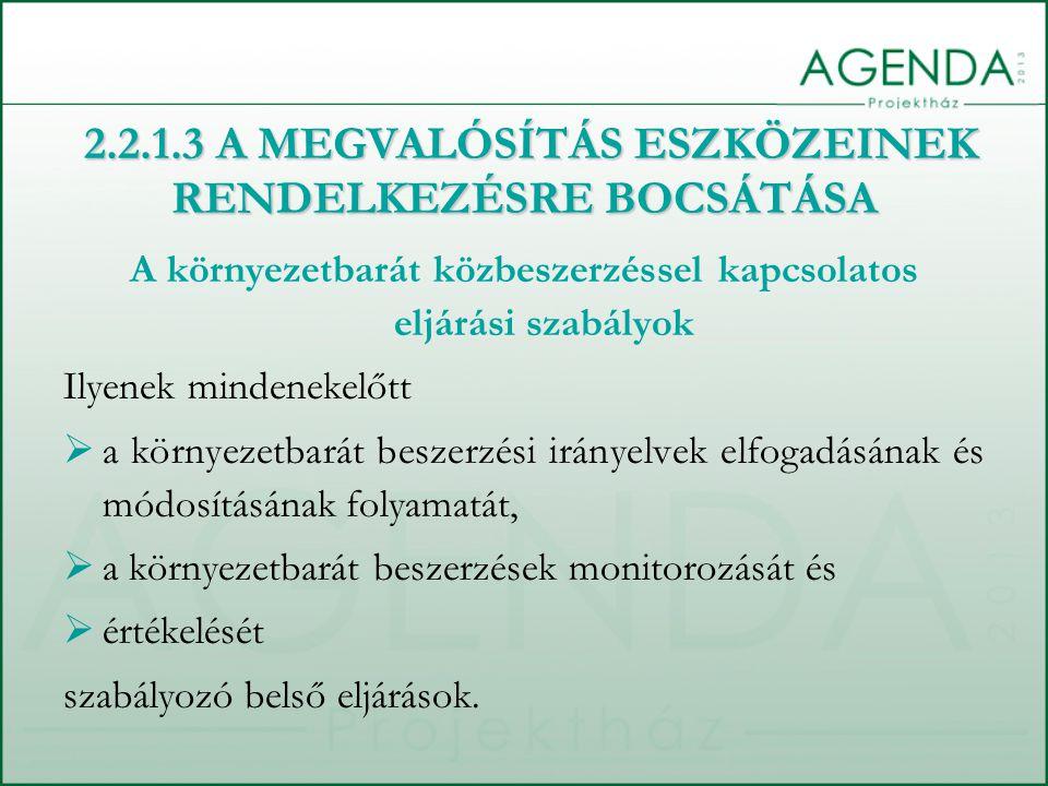 A környezetbarát közbeszerzéssel kapcsolatos eljárási szabályok Ilyenek mindenekelőtt  a környezetbarát beszerzési irányelvek elfogadásának és módosí