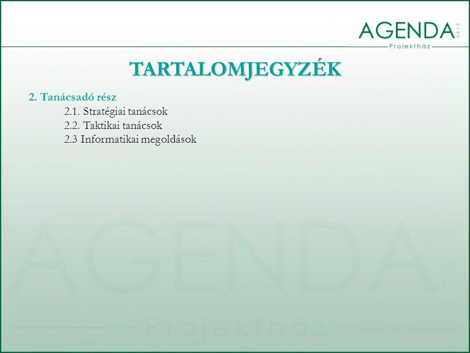 TARTALOMJEGYZÉK 2. Tanácsadó rész 2.1. Stratégiai tanácsok 2.2.