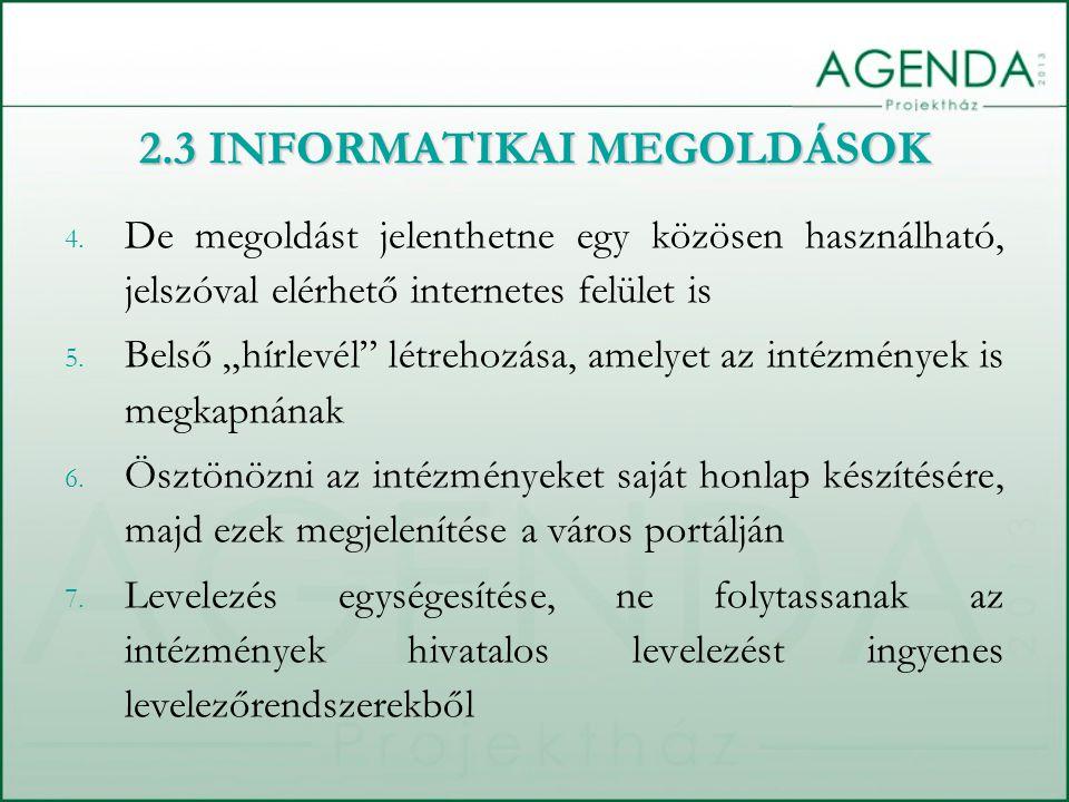 4. De megoldást jelenthetne egy közösen használható, jelszóval elérhető internetes felület is 5.