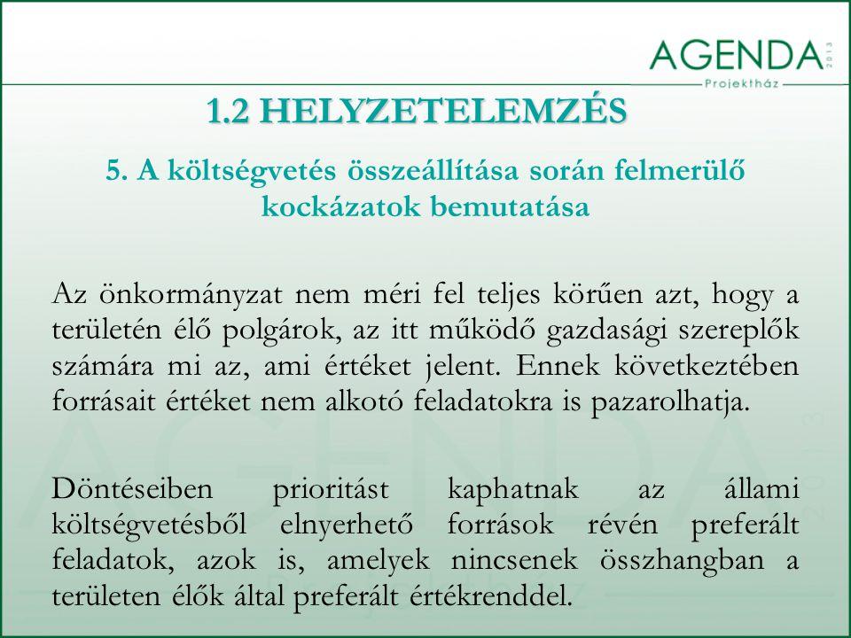 5. A költségvetés összeállítása során felmerülő kockázatok bemutatása Az önkormányzat nem méri fel teljes körűen azt, hogy a területén élő polgárok, a