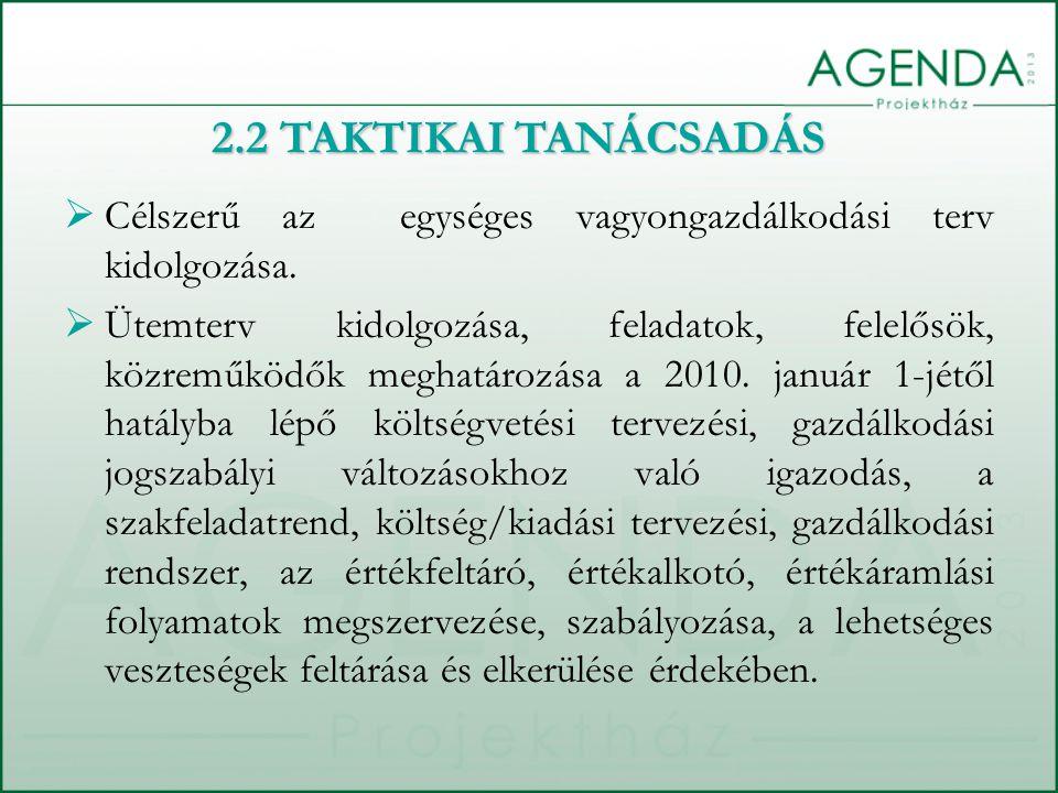  Célszerű az egységes vagyongazdálkodási terv kidolgozása.  Ütemterv kidolgozása, feladatok, felelősök, közreműködők meghatározása a 2010. január 1-