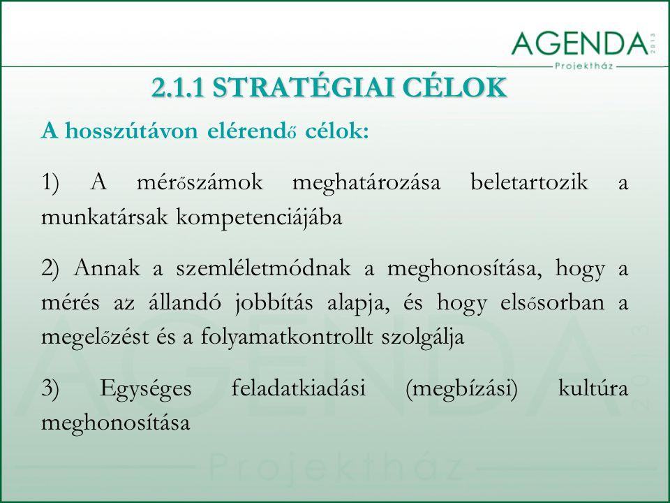 2.1.1 STRATÉGIAI CÉLOK A hosszútávon elérend ő célok: 1) A mér ő számok meghatározása beletartozik a munkatársak kompetenciájába 2) Annak a szemléletmódnak a meghonosítása, hogy a mérés az állandó jobbítás alapja, és hogy els ő sorban a megel ő zést és a folyamatkontrollt szolgálja 3) Egységes feladatkiadási (megbízási) kultúra meghonosítása