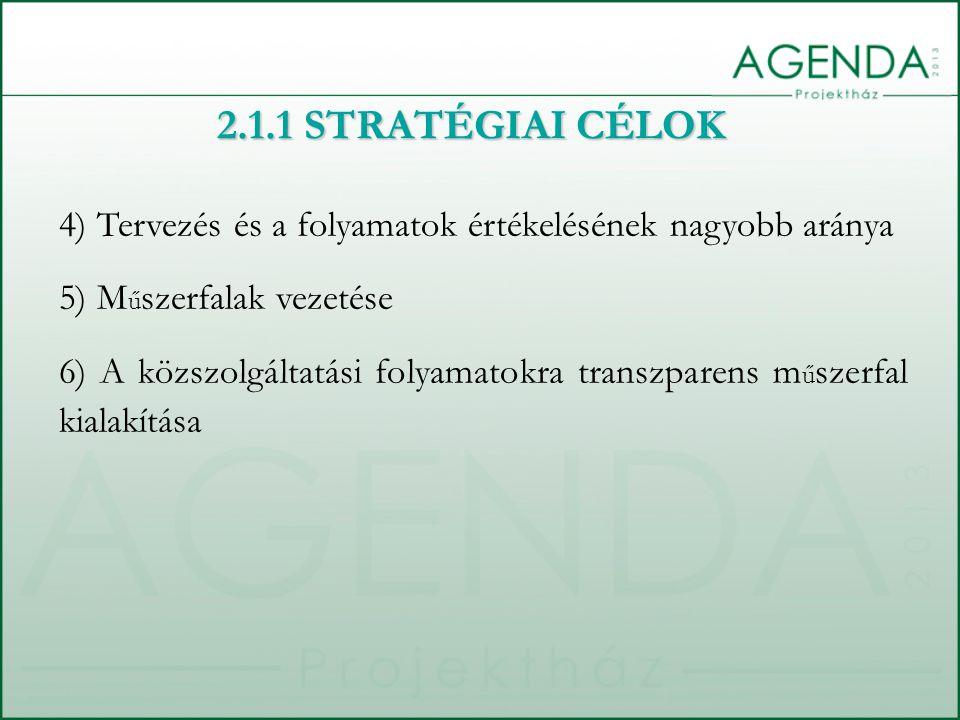 4) Tervezés és a folyamatok értékelésének nagyobb aránya 5) M ű szerfalak vezetése 6) A közszolgáltatási folyamatokra transzparens m ű szerfal kialakítása 2.1.1 STRATÉGIAI CÉLOK