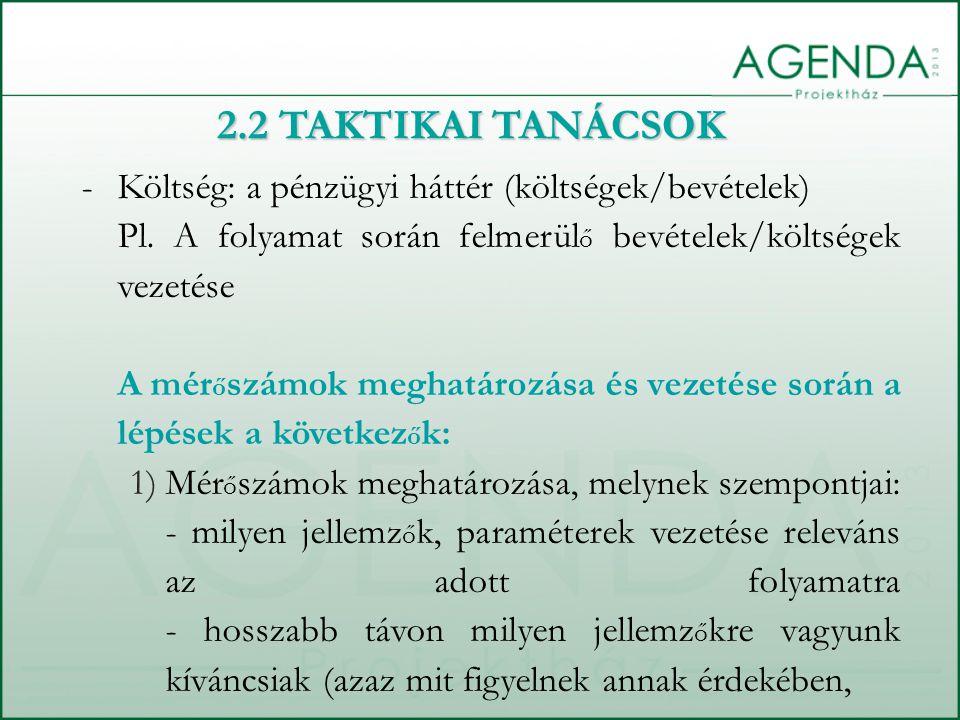 -Költség: a pénzügyi háttér (költségek/bevételek) Pl.