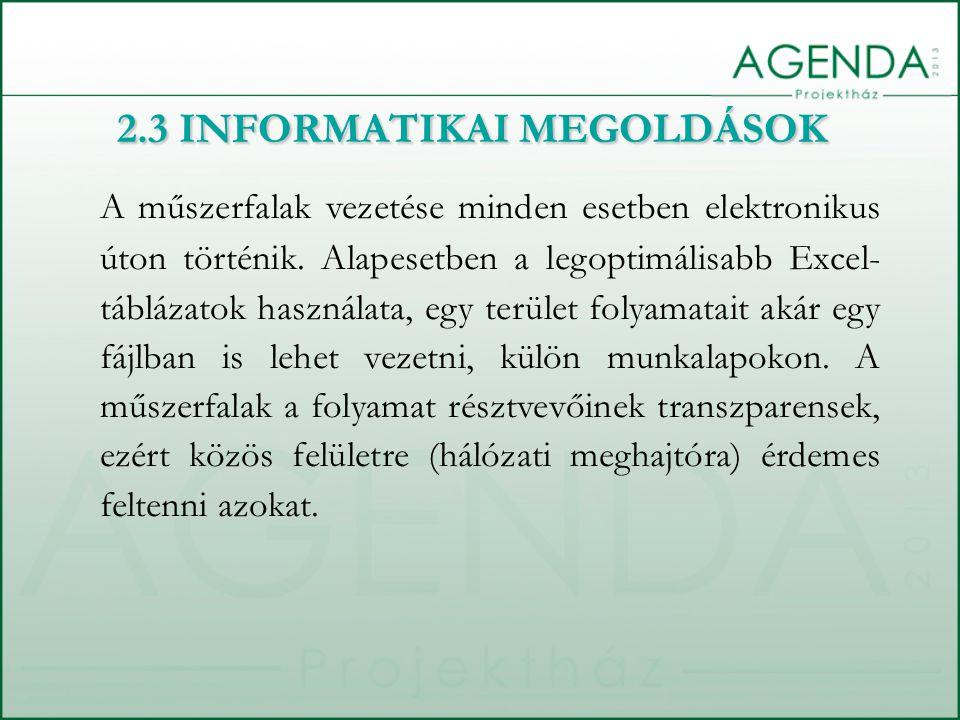 2.3 INFORMATIKAI MEGOLDÁSOK A műszerfalak vezetése minden esetben elektronikus úton történik.
