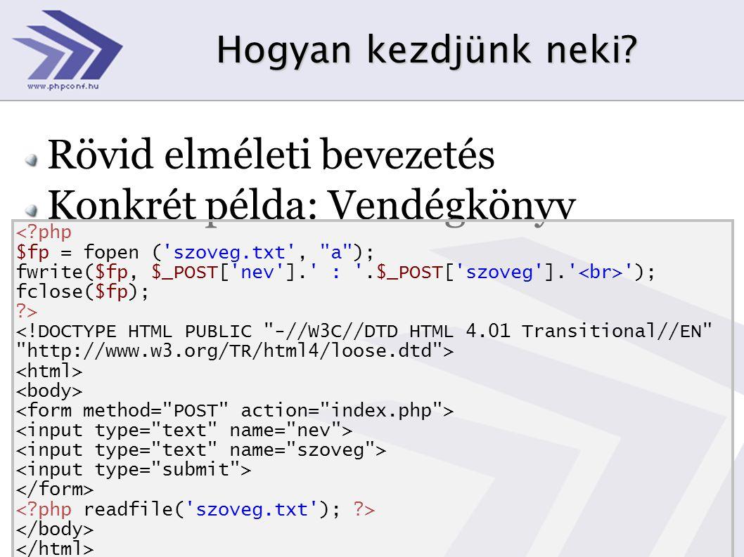 Hogyan kezdjünk neki? Rövid elméleti bevezetés Konkrét példa: Vendégkönyv <?php $fp = fopen ('szoveg.txt',