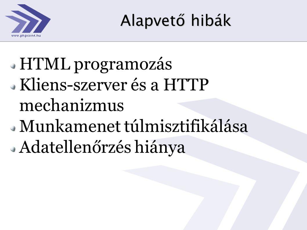 Alapvető hibák HTML programozás Kliens-szerver és a HTTP mechanizmus Munkamenet túlmisztifikálása Adatellenőrzés hiánya
