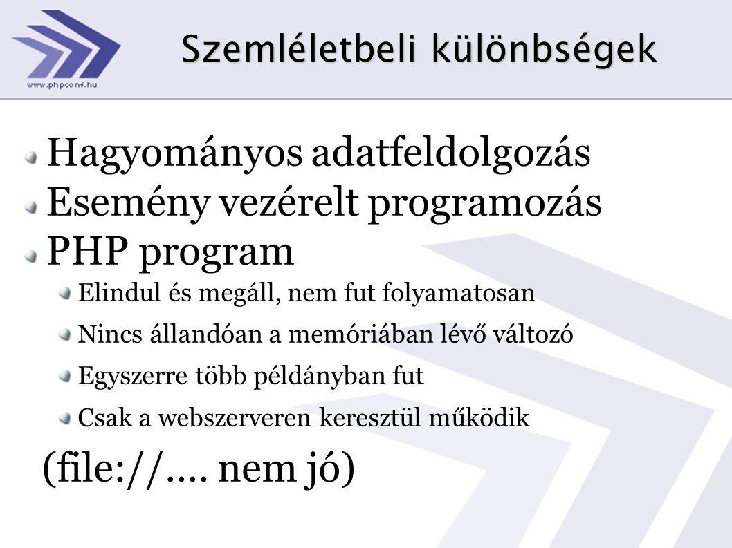 Szemléletbeli különbségek Hagyományos adatfeldolgozás Esemény vezérelt programozás PHP program Elindul és megáll, nem fut folyamatosan Nincs állandóan