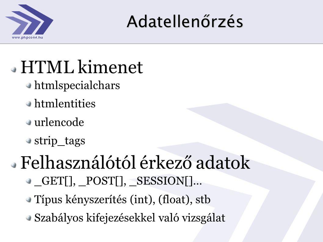 Adatellenőrzés HTML kimenet htmlspecialchars htmlentities urlencode strip_tags Felhasználótól érkező adatok _GET[], _POST[], _SESSION[]... Típus kénys