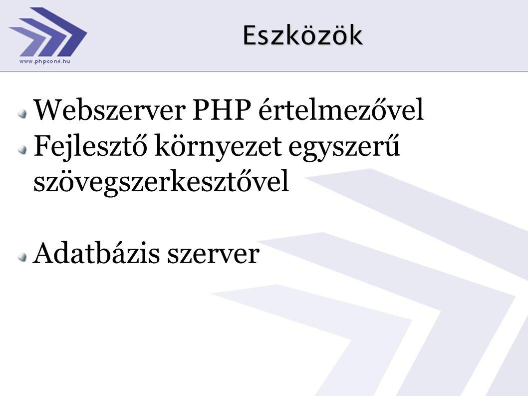 Eszközök Webszerver PHP értelmezővel Fejlesztő környezet egyszerű szövegszerkesztővel Adatbázis szerver