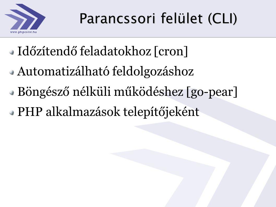 Parancssori felület (CLI) Időzítendő feladatokhoz [cron] Automatizálható feldolgozáshoz Böngésző nélküli működéshez [go-pear] PHP alkalmazások telepítőjeként