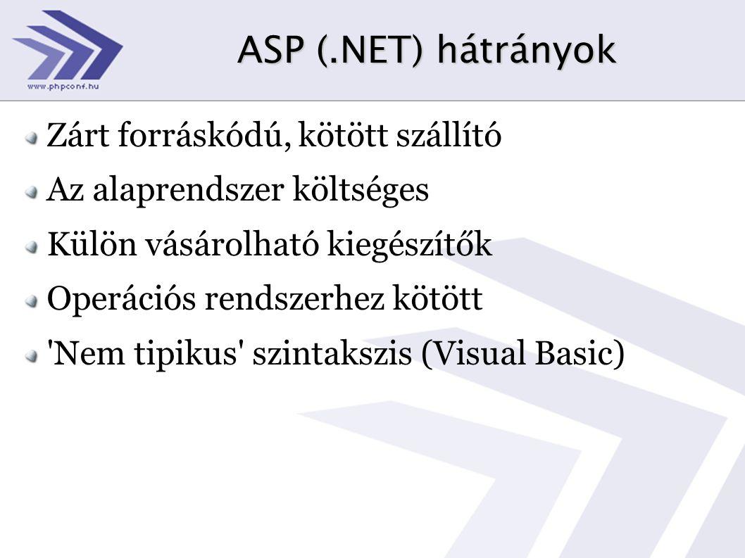 ASP (.NET) hátrányok Zárt forráskódú, kötött szállító Az alaprendszer költséges Külön vásárolható kiegészítők Operációs rendszerhez kötött Nem tipikus szintakszis (Visual Basic)
