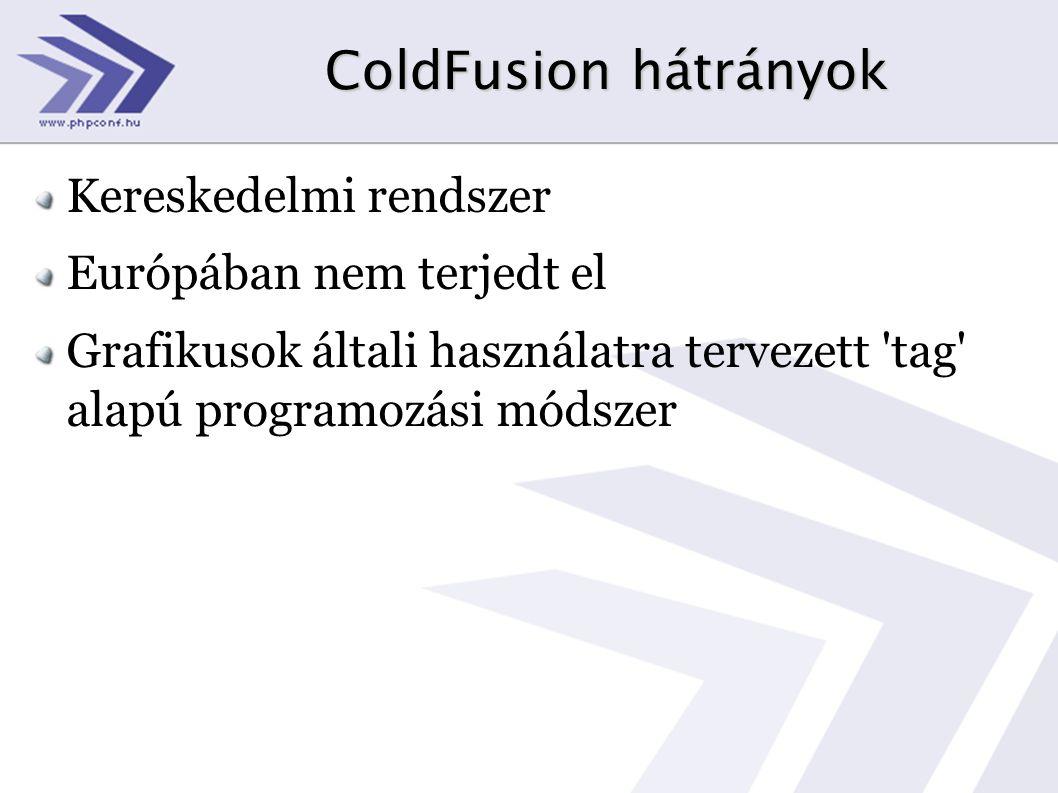 ColdFusion hátrányok Kereskedelmi rendszer Európában nem terjedt el Grafikusok általi használatra tervezett tag alapú programozási módszer